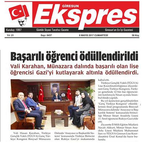 Sayın Valimizden Genç Türkiye 1.sine ödül